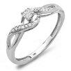 Dazzling Rock 10K White Gold Round Cut Diamond Crossover Swirl Promise Ring
