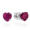Dazzling Rock Heart Cut Ruby Stud Earrings