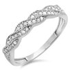 <strong>Dazzling Rock</strong> 14K White Gold Round Cut Diamond Swirl Anniversary Wedding Band