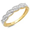 <strong>Dazzling Rock</strong> 14K Yellow Gold Round Cut Diamond Swirl Anniversary Wedding Band