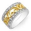 Dazzling Rock Sterling Silver Round Cut Diamond Fancy Wedding Band
