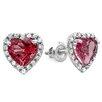 Dazzling Rock Heart Cut Garnet and Diamond Halo Stud Earrings