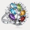 <strong>Drukker Designs</strong> Rainbow Sterling Silver Marquise Cut Gemstone Ring