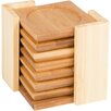 <strong>Trademark Innovations</strong> Natural Bamboo Coaster with Poles Holder (Set of 6)