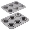 Cake Boss Specialty Bakeware Non Stick 2 Piece Round and Square Stacked Cakelette Pan Set