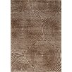Kalora Boulevard Glitz Low Pile Radical Brown Circles Area Rug