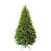 Hometime Snowtime 7.5' Green Pre-Lit Carolina Pine Artificial Christmas Tree with 650 Clear Lights