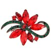<strong>Fantasyard</strong> Christmas Poinsettia Flower Crystal Brooch