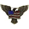 Fantasyard American Flag and Eagle Bird Crystal Brooch
