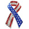 Fantasyard American Flag Patriotic Ribbon USA Crystal Brooch