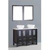 """Bosconi Contemporary 48"""" Double Bathroom Vanity Set with Mirror"""