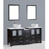 "Bosconi Contemporary 72"" Double Bathroom Vanity Set with Mirror"