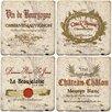 Thirstystone 4 Piece Wine Labels Travertine Ambiance Coaster Set