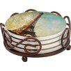 Thirstystone 5 Piece Golden Age of Paris Collegiate Coaster Gift Set