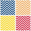 <strong>Thirstystone</strong> 4 Piece Bright Colors Chevrons Occasions Coasters Set