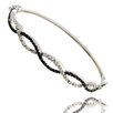 <strong>Gem Jolie</strong> Silver Overlay Black and White Diamond Accent Infinity Bangle