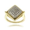 <strong>Gem Jolie</strong> Gold Overlay Diamond Accent Square Ring