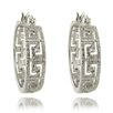 Gem Jolie Silver Overlay 1/4 Carat TW Diamond Greek Key Design Hoop Earrings
