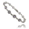 <strong>Gem Jolie</strong> Blue Topaz and Diamond Accent Flower Bracelet