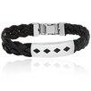 Gem Jolie Braided Imitation Leather and Stainless Steel Bracelet