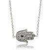 Gem Jolie Silver Overlay Diamond Accent Hamsa Necklace