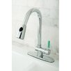 <strong>Kingston Brass</strong> Green Eden Single Lever Handle Kitchen Faucet with Pull-down Spray