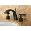 <strong>Kingston Brass</strong> Manhattan Double Handle Widespread Bathroom Faucet with Brass Pop-up