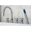 <strong>Kingston Brass</strong> Concord Three Handle Roman Tub Filler with Hand Shower