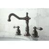 <strong>Kingston Brass</strong> Water Onyx Double Handle Widespread Bathroom Faucet with ABS/Brass Pop-Up Drain