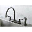 <strong>Kingston Brass</strong> Water Onyx Centerset Kitchen Faucet with Lever Handles and Matching Side Spray