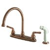 <strong>Magellan Double Handle Goose Neck Kitchen Faucet with Side Spray</strong> by Kingston Brass