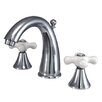 <strong>Kingston Brass</strong> Naples Double Handle Widespread Bathroom Sink Faucet with Brass Pop-up