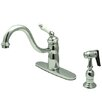 Kingston Brass Victorian Single Handle Kitchen Faucet with Brass Spray