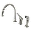 Kingston Brass Wyndham Single Loop Handle Kitchen Faucet with Non-Metallic Side Sprayer