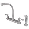 <strong>Kingston Brass</strong> Victorian Double Handle CentersetHigh Arch Kitchen Faucet with Non-Metallic Spray
