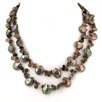 Unique Pearls Cultured Brown Coin Pearl Necklace with Gemstones