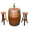 Napa East Collection Personalized Refinished Barrel Pub Table Set