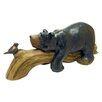 Design Toscano Bear and Bird Lying on Log Statue