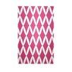 E By Design Decorative Geometric Fushia/White Area Rug