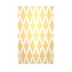 E By Design Decorative Geometric Yellow Haze/White Area Rug