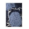 E By Design Decorative Floral Navy Blue/Blue Area Rug