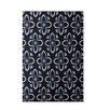 E By Design Decorative Floral Navy Blue/Taupe Area Rug
