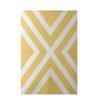 E By Design Decorative Stripe Yellow Area Rug