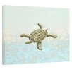 E By Design Coastal Tortuga Water Painting Print on Wrapped Canvas in Taupe and Blue