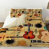 Thumbprintz Guitar Collage Cream Duvet Cover