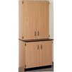 Stevens ID Systems Science Standing Desk with Phenolic Top and Door/Shelf Hutch