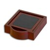 <strong>Dacasso</strong> 8000 Series Rosewood and Leather Four Square Coasters with Holder