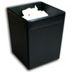 1000 Series Classic Leather Square Waste Basket in Black