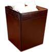 2000 Series Crocodile Embossed Leather Square Waste Basket in Brown