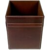 3200 Series Leather Square Waste Basket in Rustic Brown